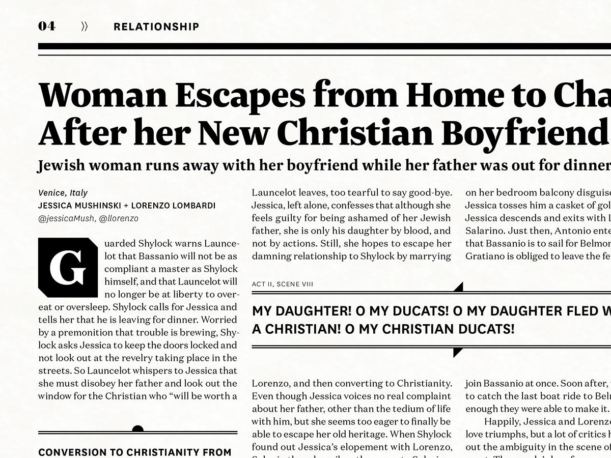 The Merchant of Venice newspaper design shakespeare play italian publication antisemitism HOMOSEXUALITY adaa_2015