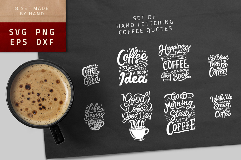 Svg Bundle Lettering Coffee Quotes On Behance