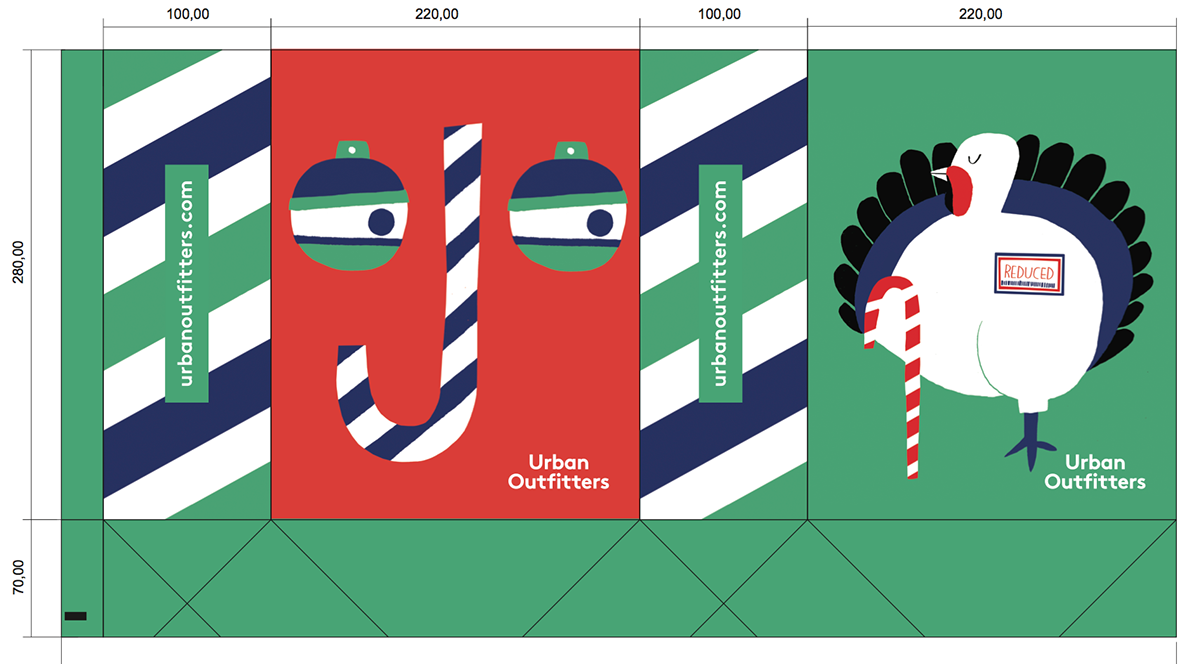 Urban outfitters xmas illustrations for the bags uk on - Urban outfitters valencia ...