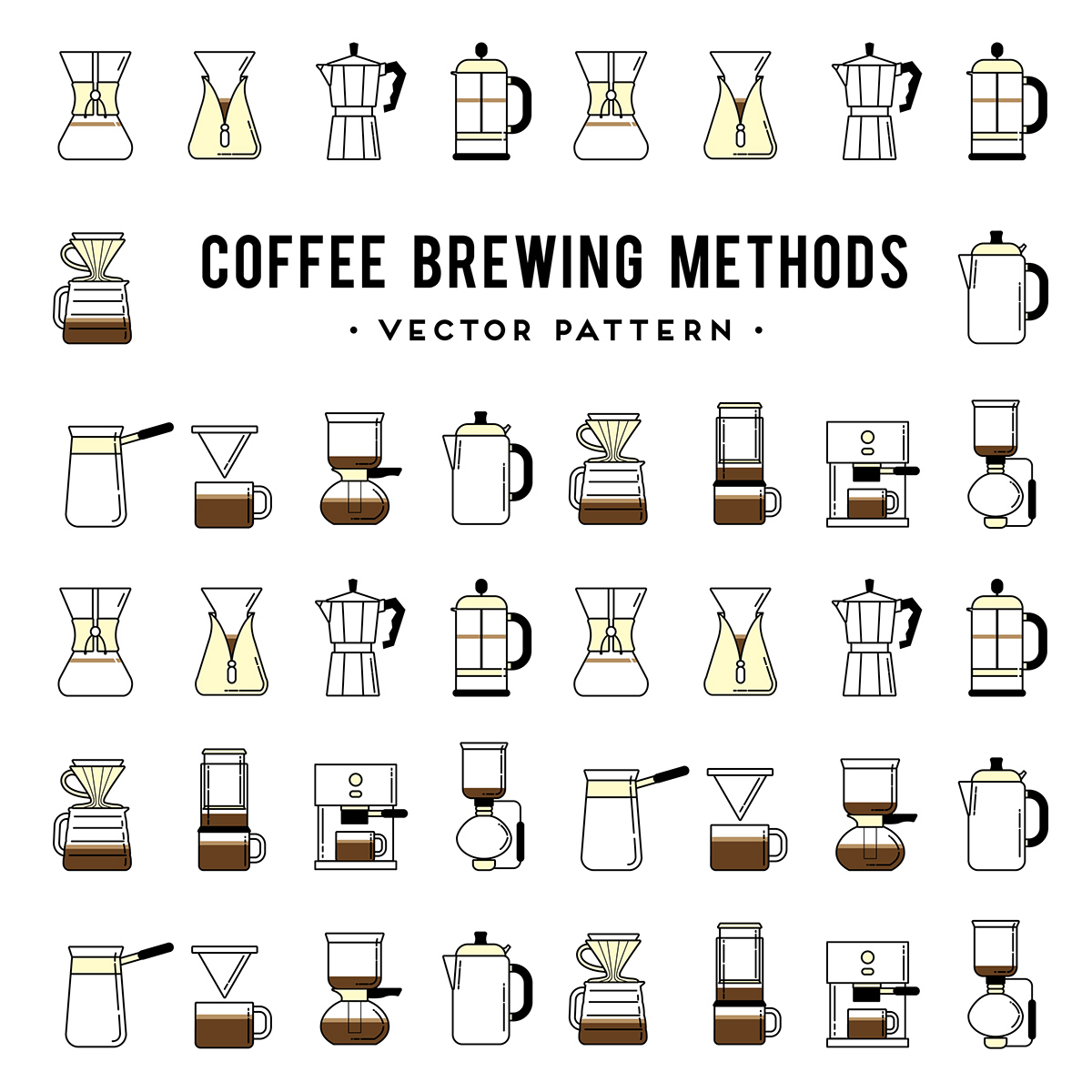 Coffe Brewing Methods Icons Set On Behance