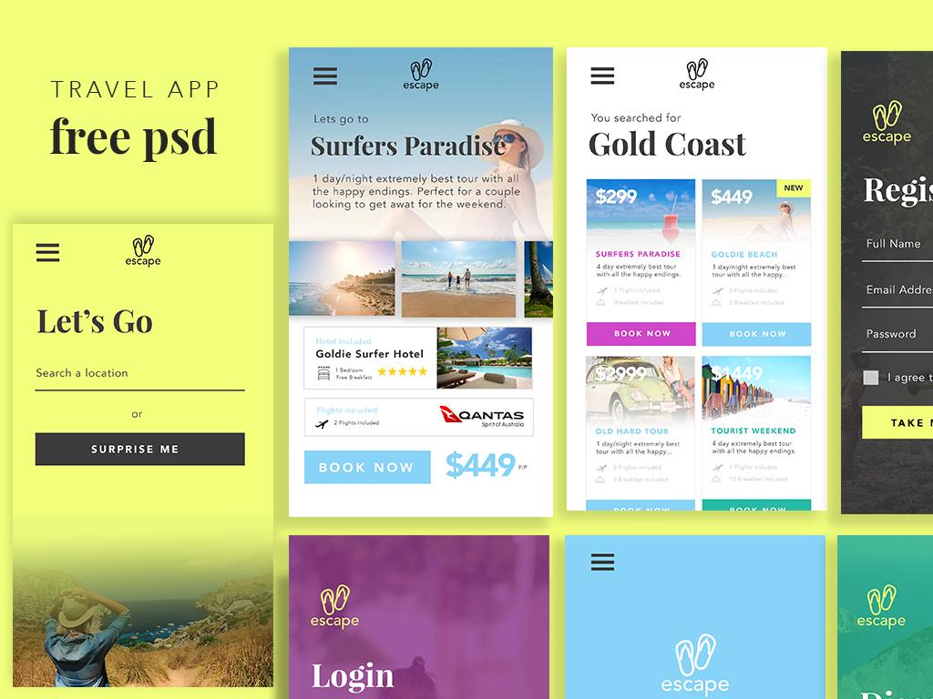 Free PSD Travel App UI on Behance