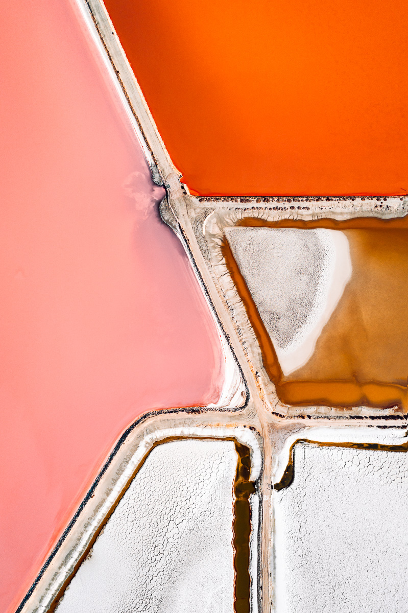 Aerial drone Salt ponds lake abstract painting   vibrant Colourful  adobeawards