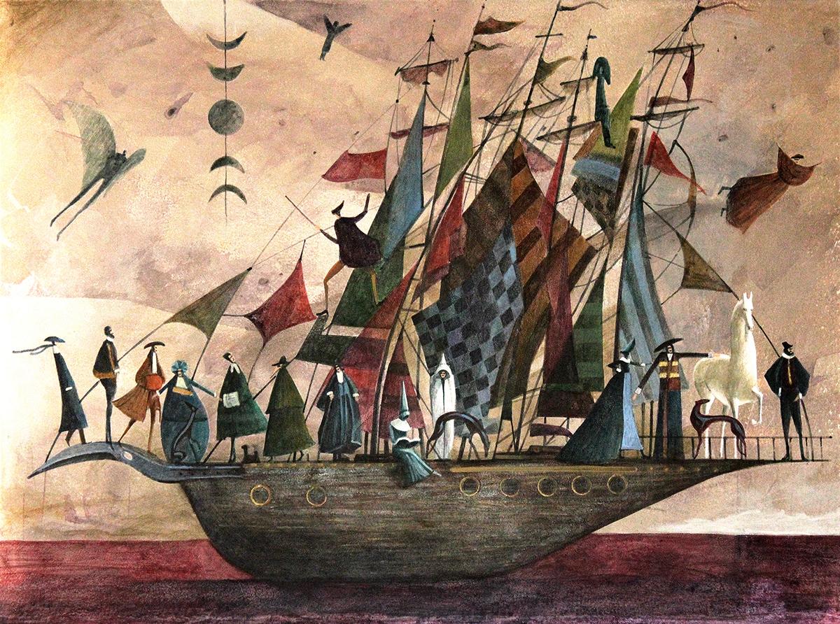 ship voyage sailing ILLUSTRATION  painting   acrylic fairytale New Worlds