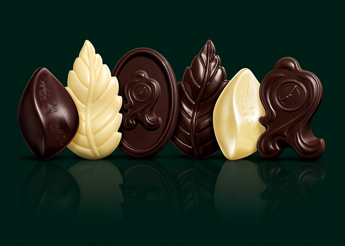 Photo realistic chocolate illustrations for Nestlé After Eight mints packaging.