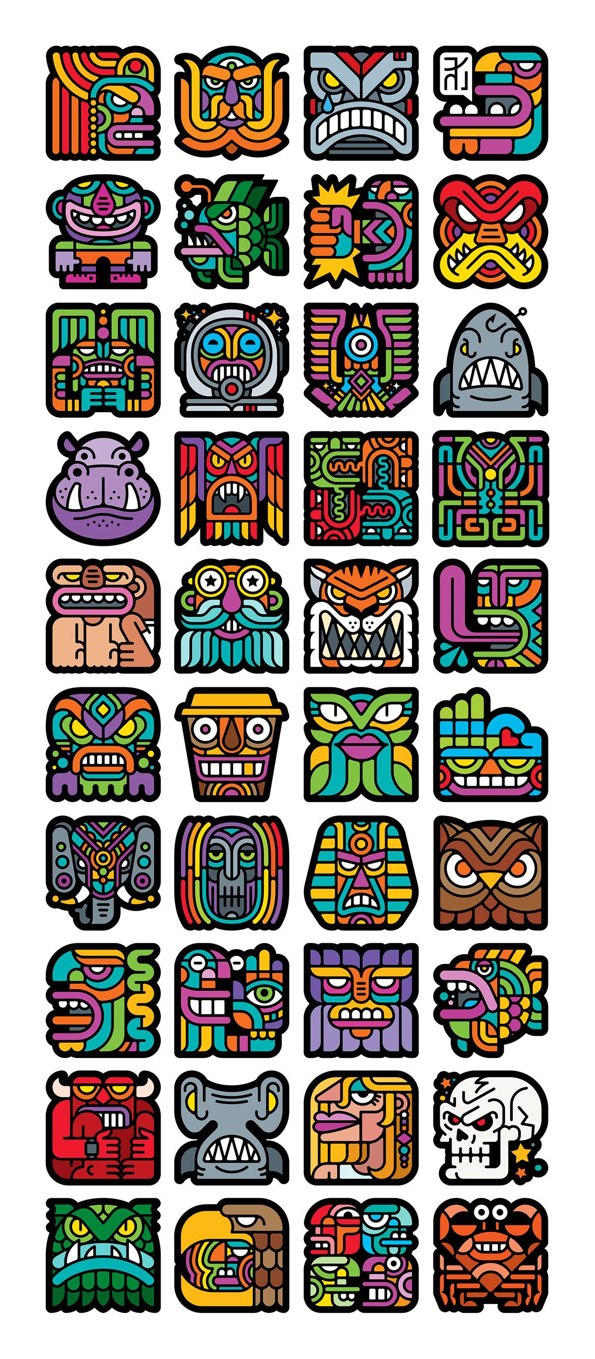 adobe illustrator art Collection creative creative process design ILLUSTRATION  Modern Kulture Square Shaped timelapse