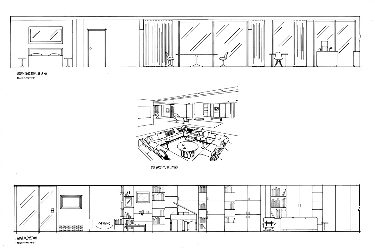Three Bedroom Flat Plan moreover High Quality Plans For Houses 3 Tiny Cottage House Plans Design besides Some Internal Fit Out Drawings moreover Hand Drafting Eero Saarinens Miller House as well 4 Story House Plans With Modern Contemporary Home Design Ideas. on 2 bedroom interior design