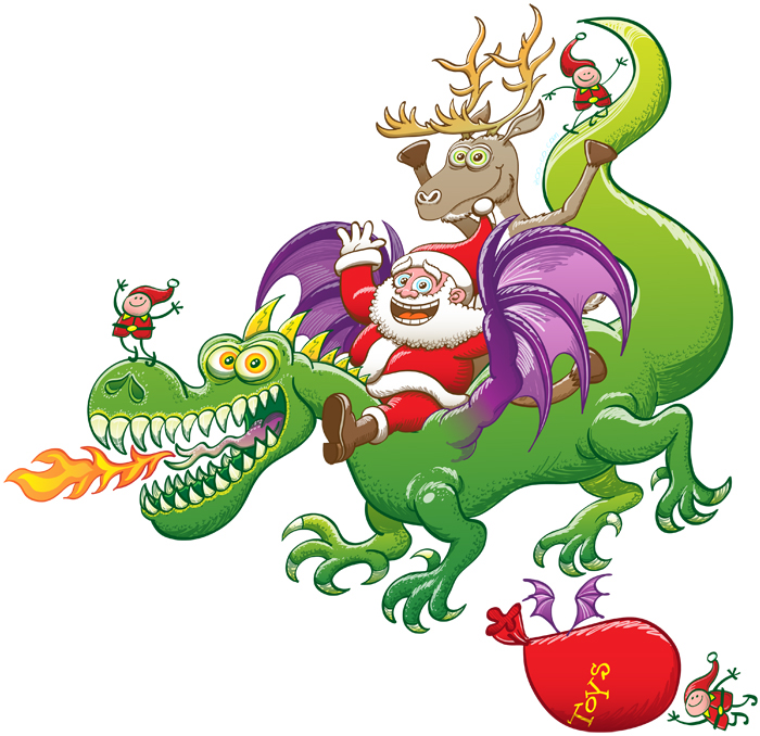 Santa replaced his reindeer by a dragon, isolated image