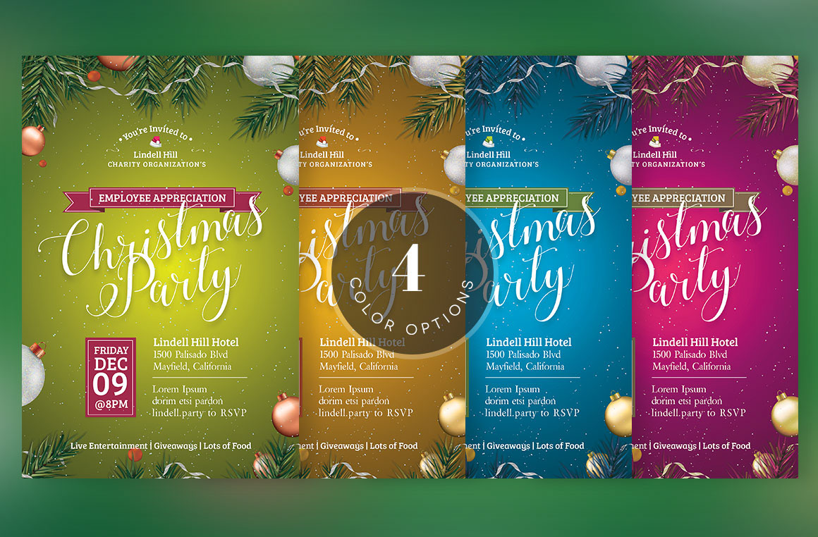 Green Christmas Party Flyer Template On Behance
