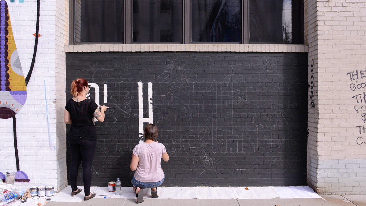 perhappiness paulo leminski wallpainting streetart Brooklyn Bushwick lettering handmade wall art