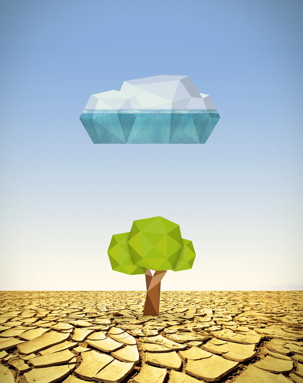 Tree  Low Poly lowpoly desert rain cloud life