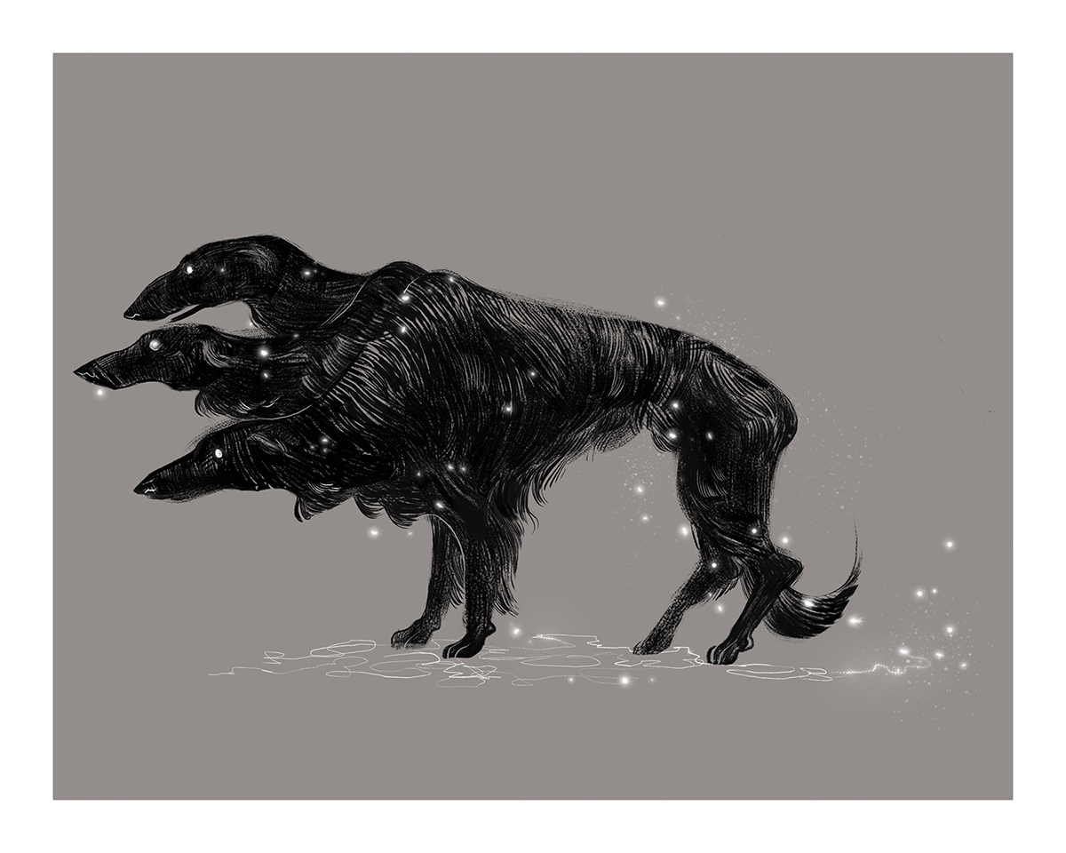 cerberus borzoi doberman dog