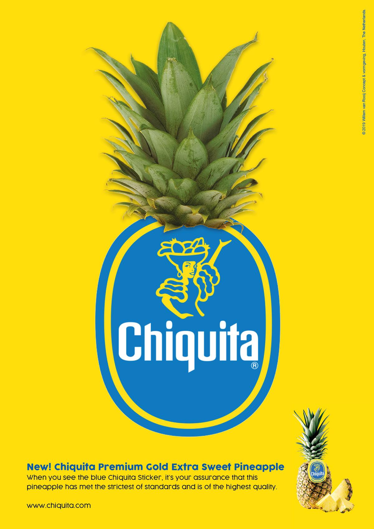 Pineapple chiquita banana Fruit introduction concept