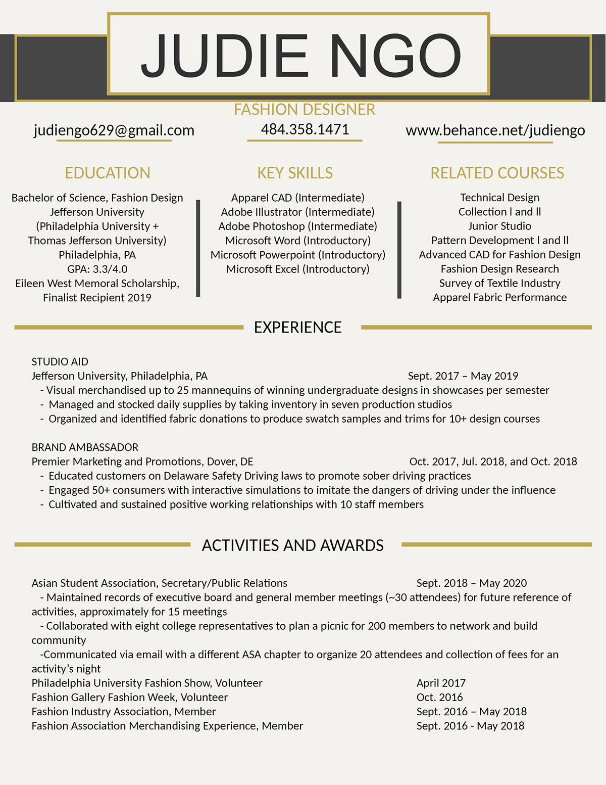 2020 Resume On Philau Portfolios