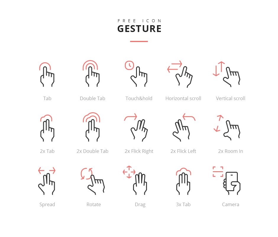 gesture touch phone free line Icon psd ai download