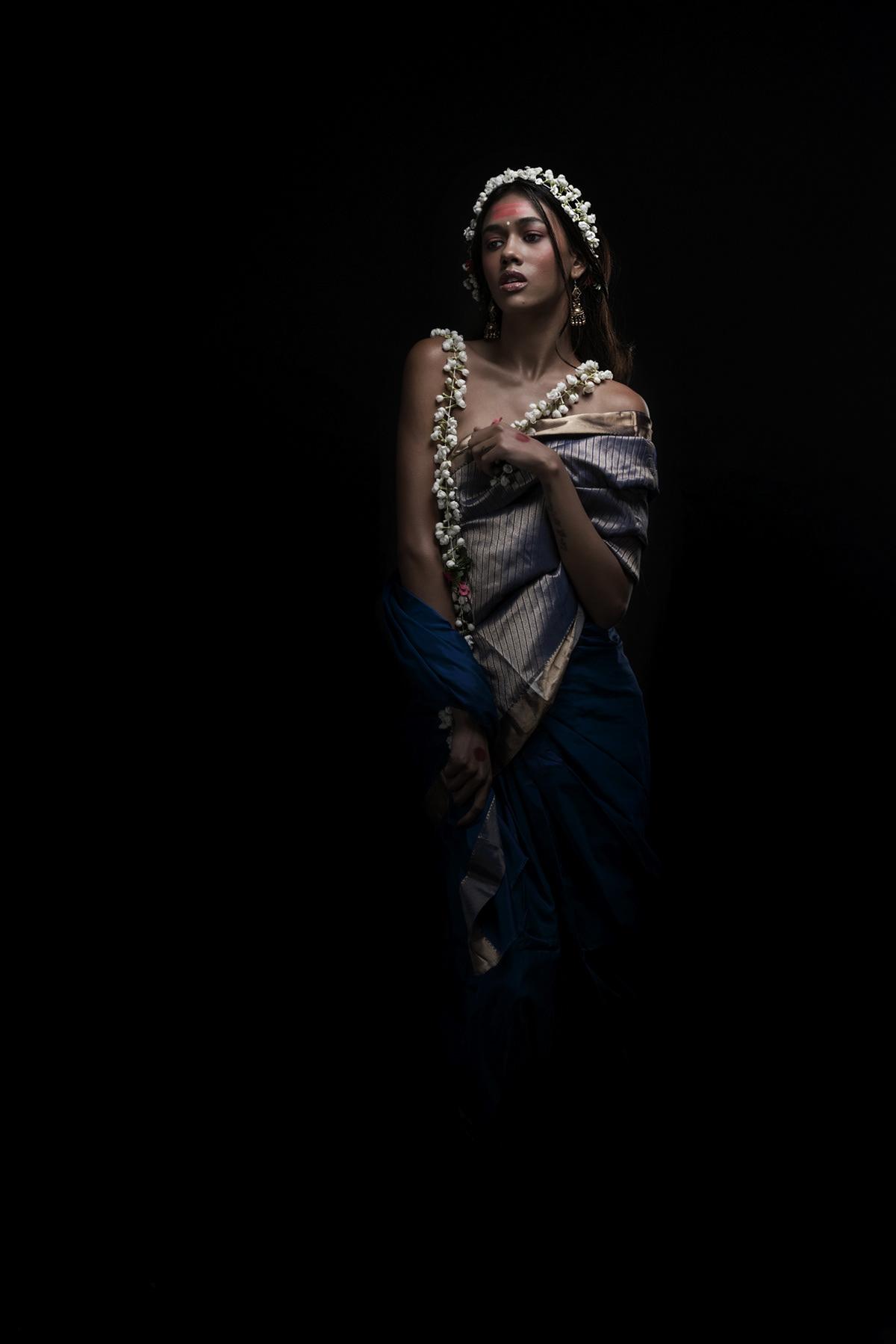 goddess God India Sari fashion shoot styling  Indian art artist MUMBAI