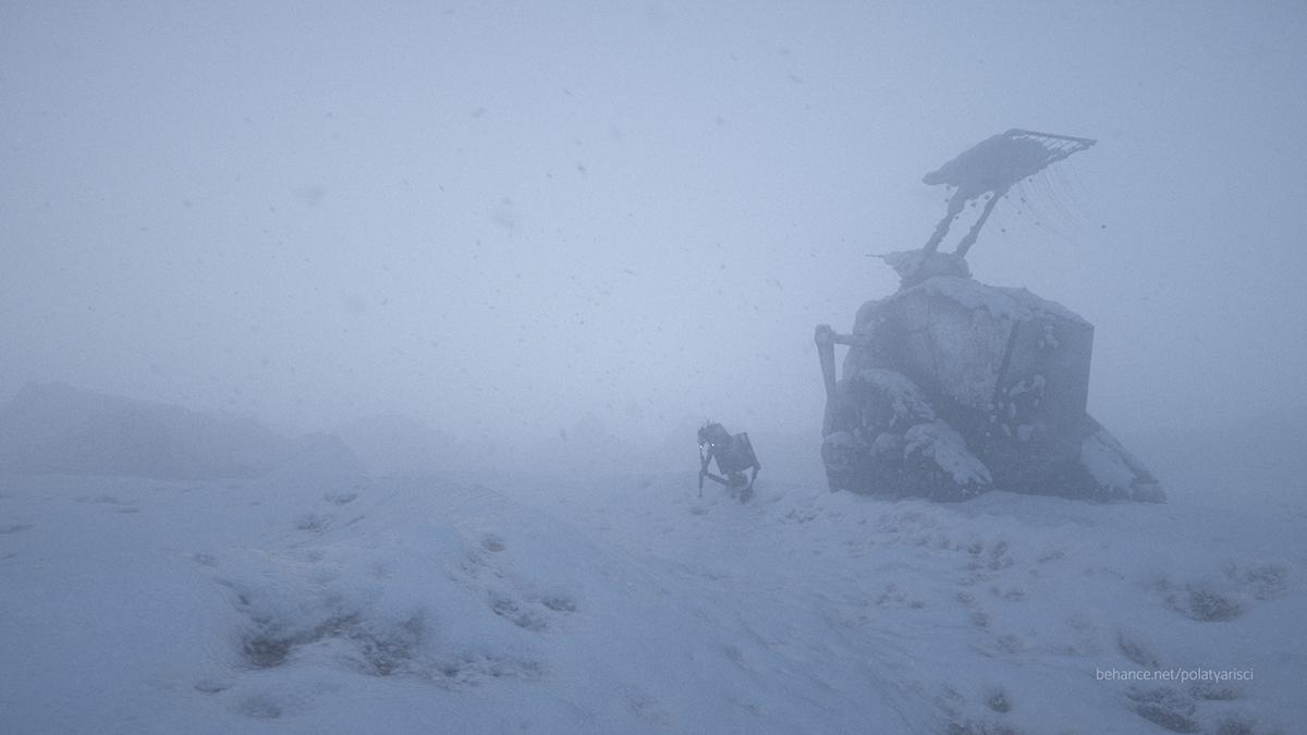 snow robot Landscape cinema 4d octane sad polat yarisci Tank iceland peaceful