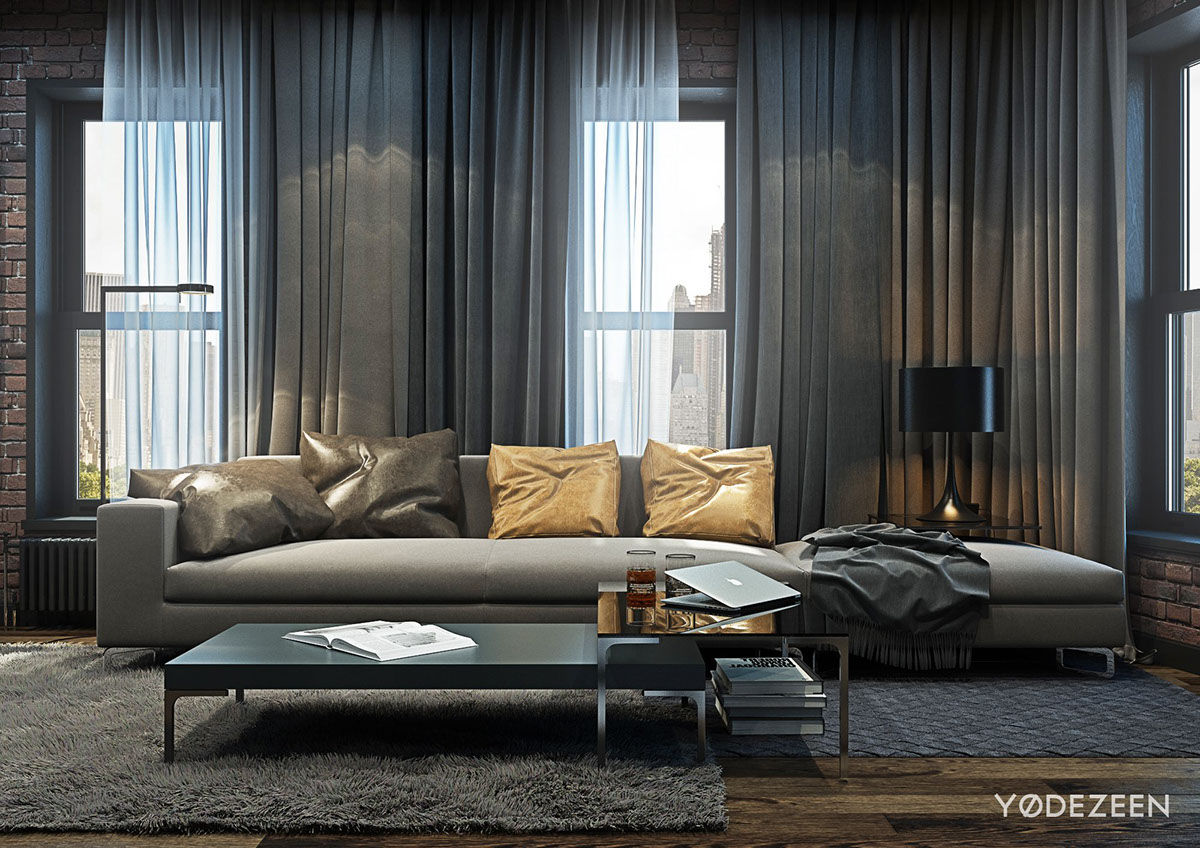 Curtains And Modern Furniture Of Sober Colors Are In Harmony With Cement  Boards On The Walls And Wooden Flooring