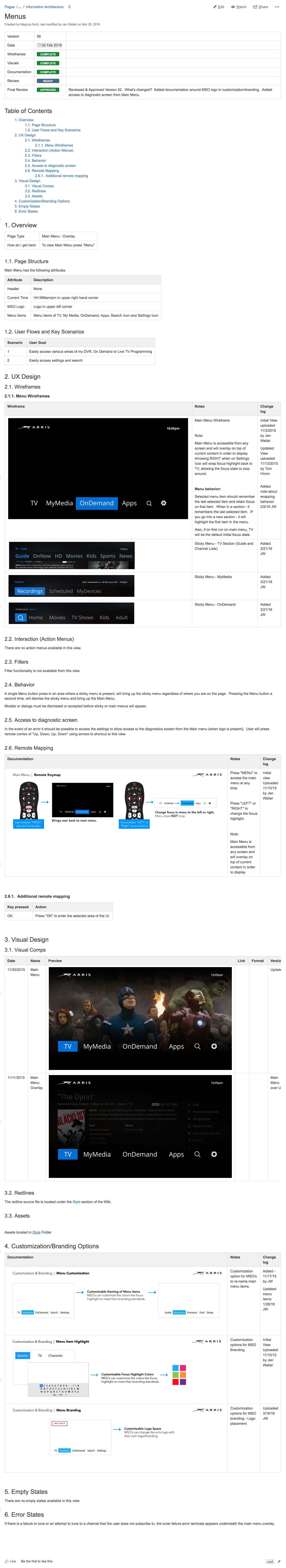 Unity 2.0 Cable set top user interface On Demand video Display