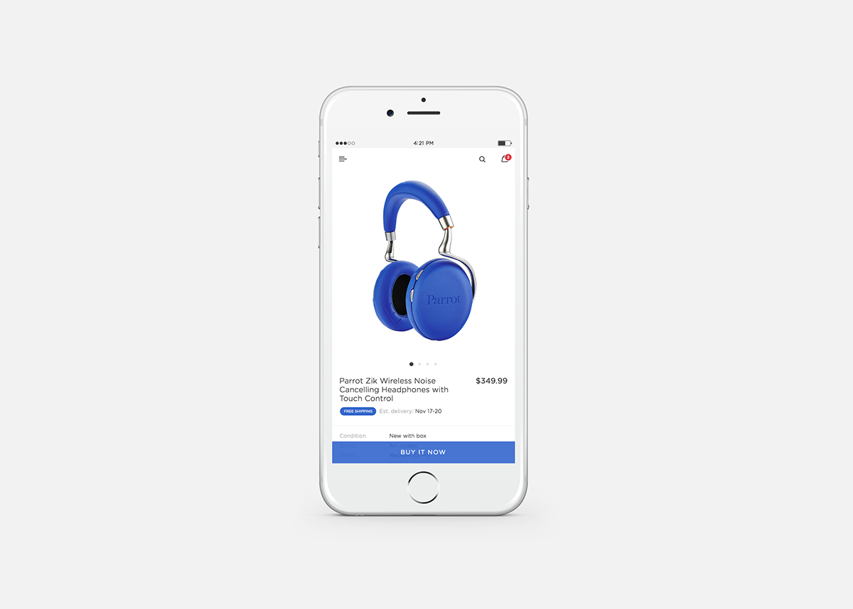 eBay Ecommerce redesign product card mobile Experience concept