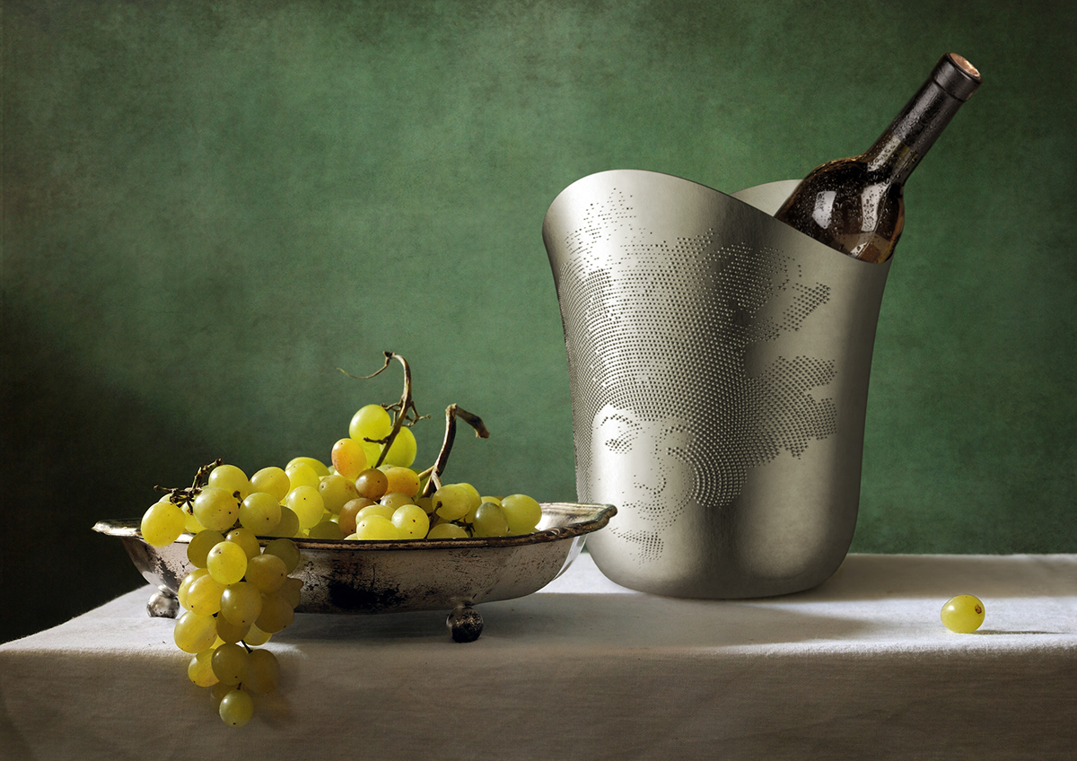 italian taste Mona Lisa halftone tableware generative utensil Vectoraster vector graphics raster dots