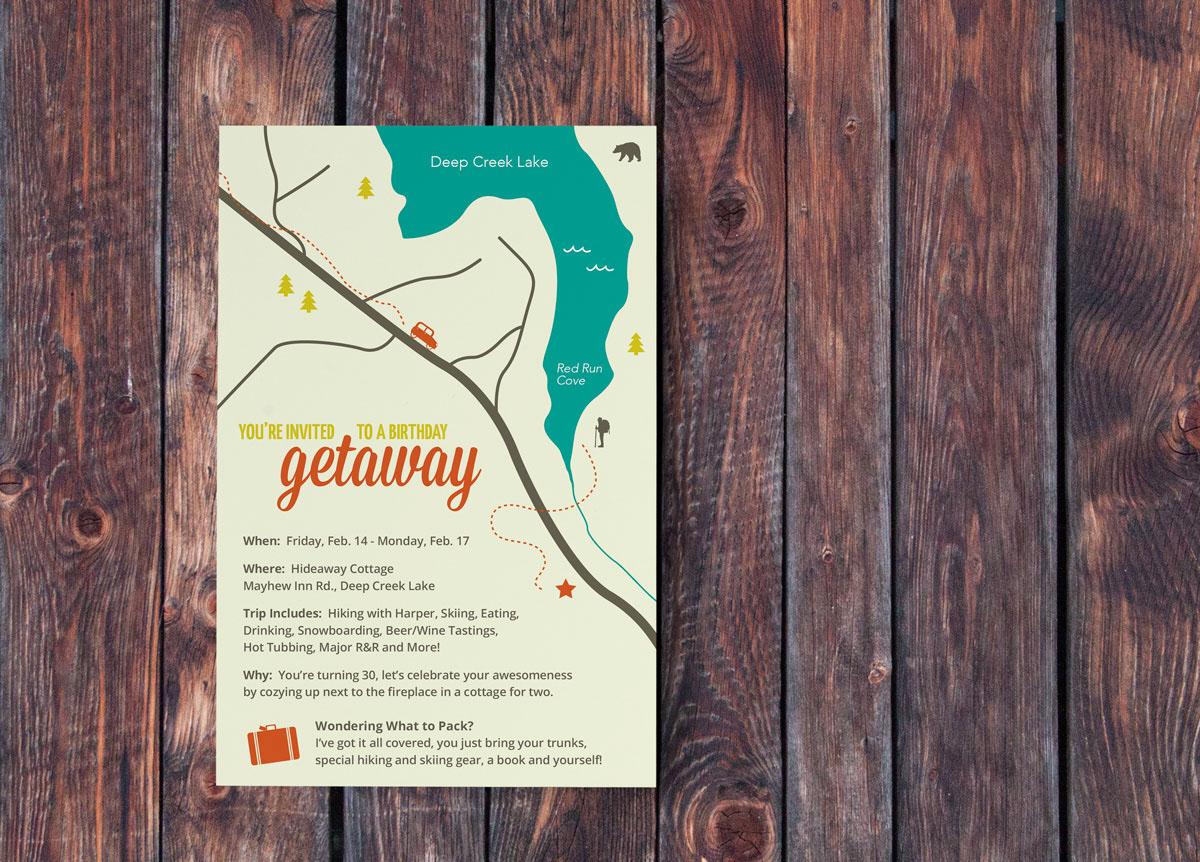 Wandplank 30 Diep.30th Birthday Getaway Invitation On Behance