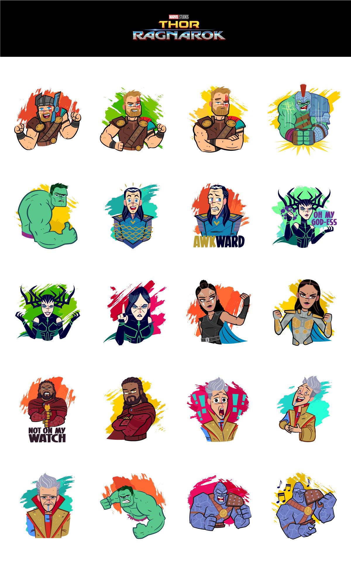 Thor Ragnarok Facebook Stickers on Behance