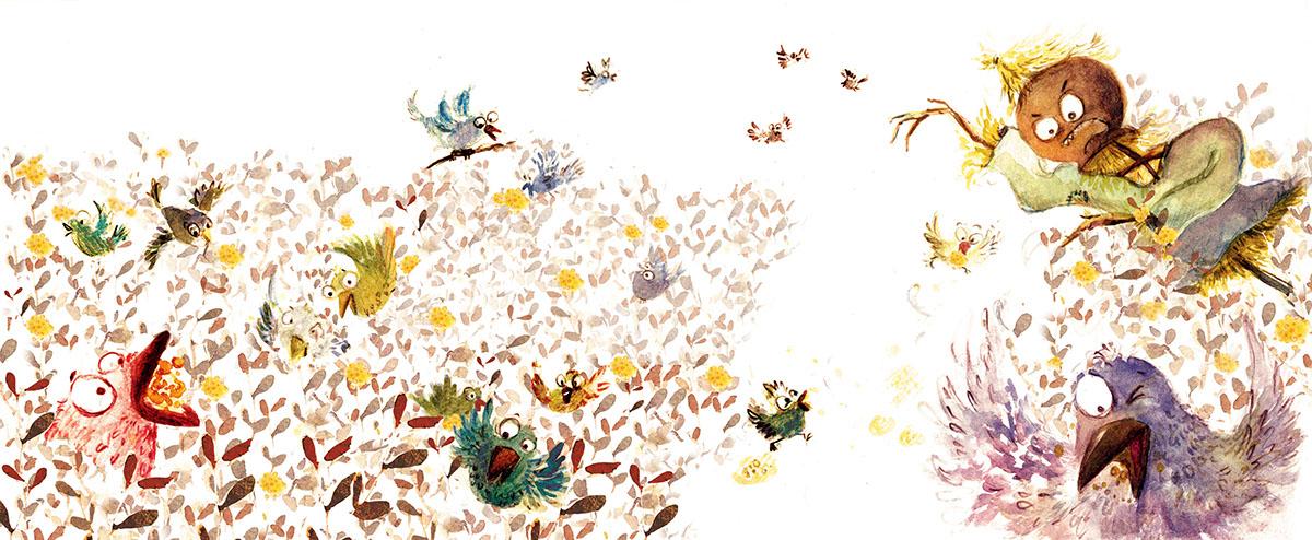 children's book illustration watercolors scarecrows kidlit art