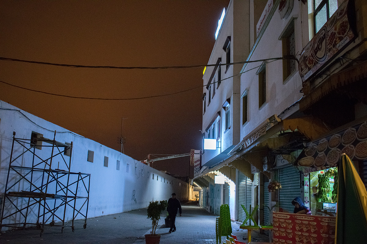 Morocco neon night photography atmosphere Dystopian street photography art photography cinematic Marrakech Arab