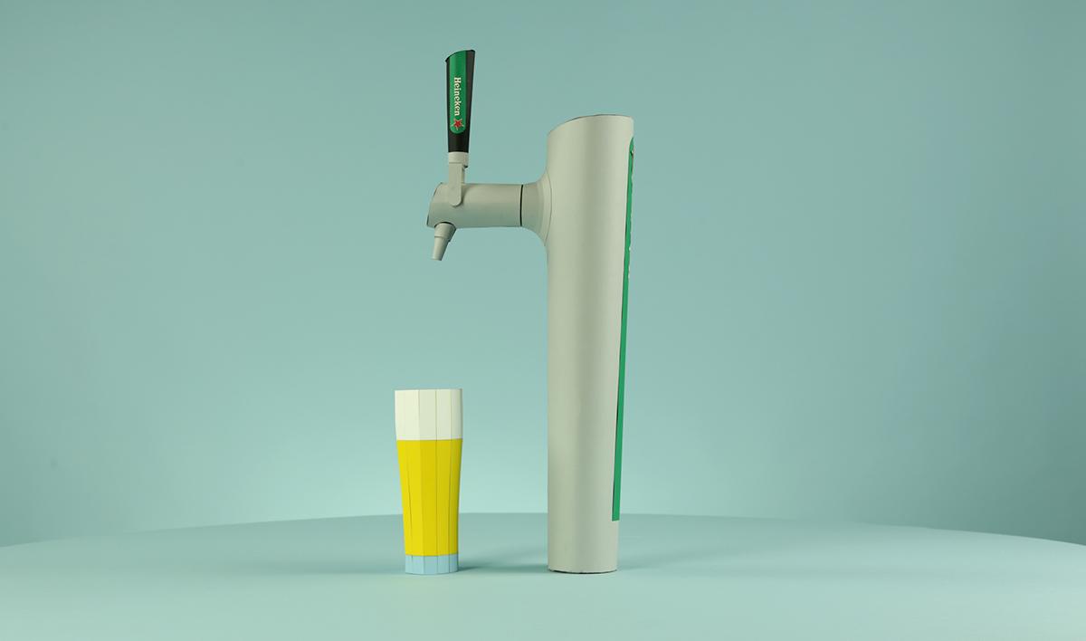 paper papercraft models heineken beer TAP paperart