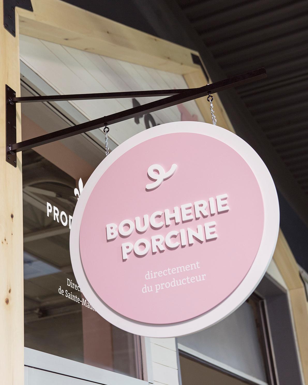 boucherie butcher commercial Montreal commerce identité branding de lieu Space Branding espace pastel pink wood rebranding