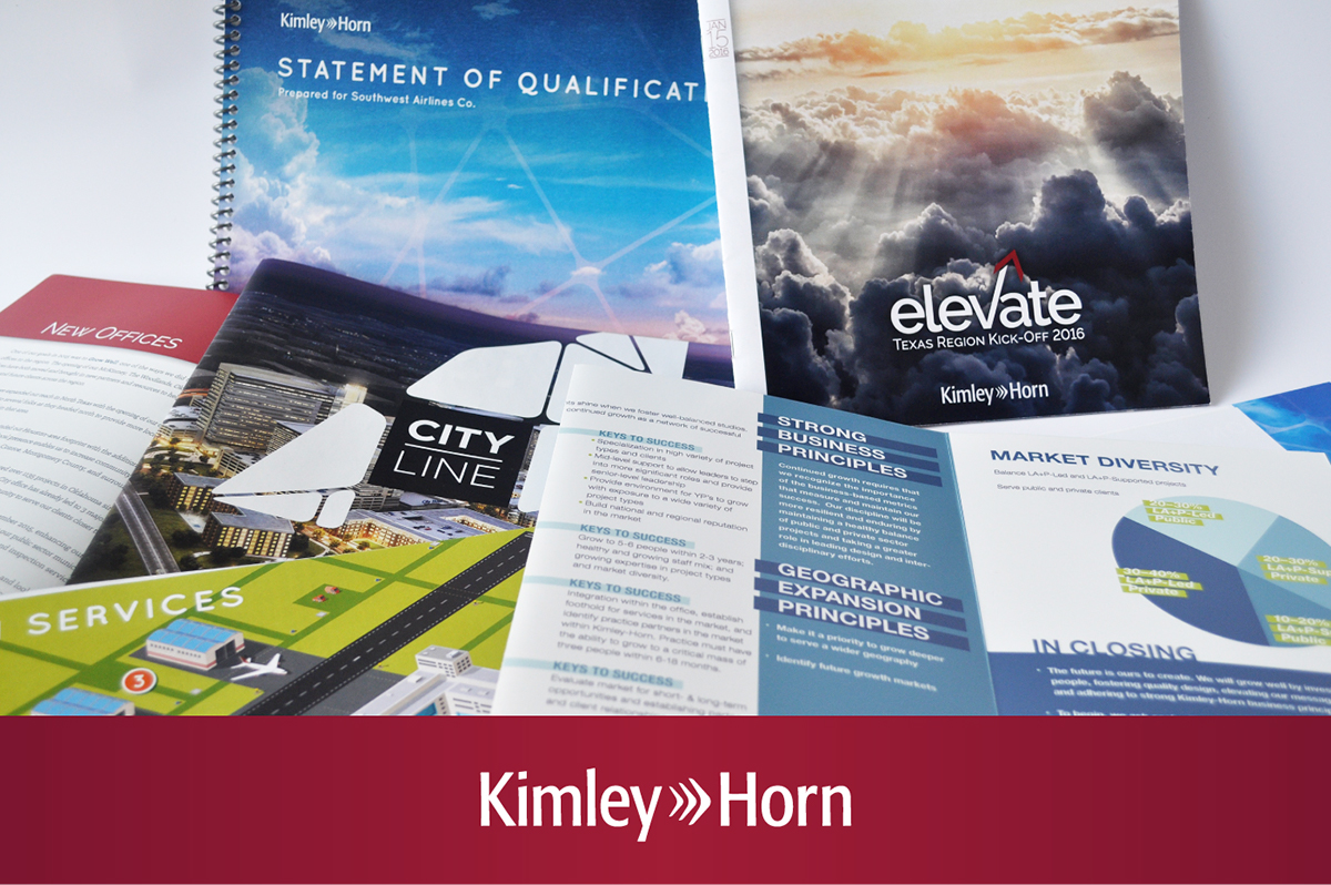 Kimley horn marketing collateral print design on student show for Kimley horn