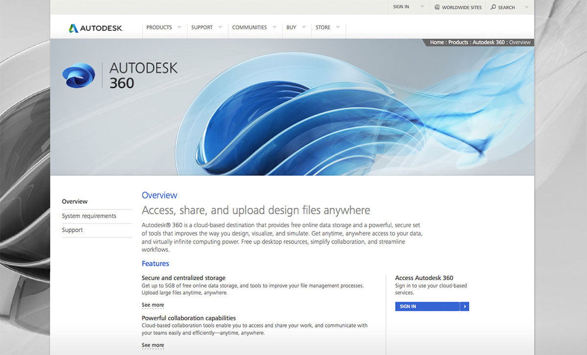 Autodesk 360 identity on Behance