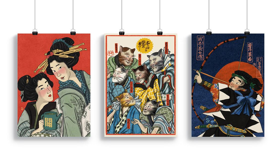 ukiyoe ukiyo-e japan japanese illustrasyon kabuki poster Serie cats geisha