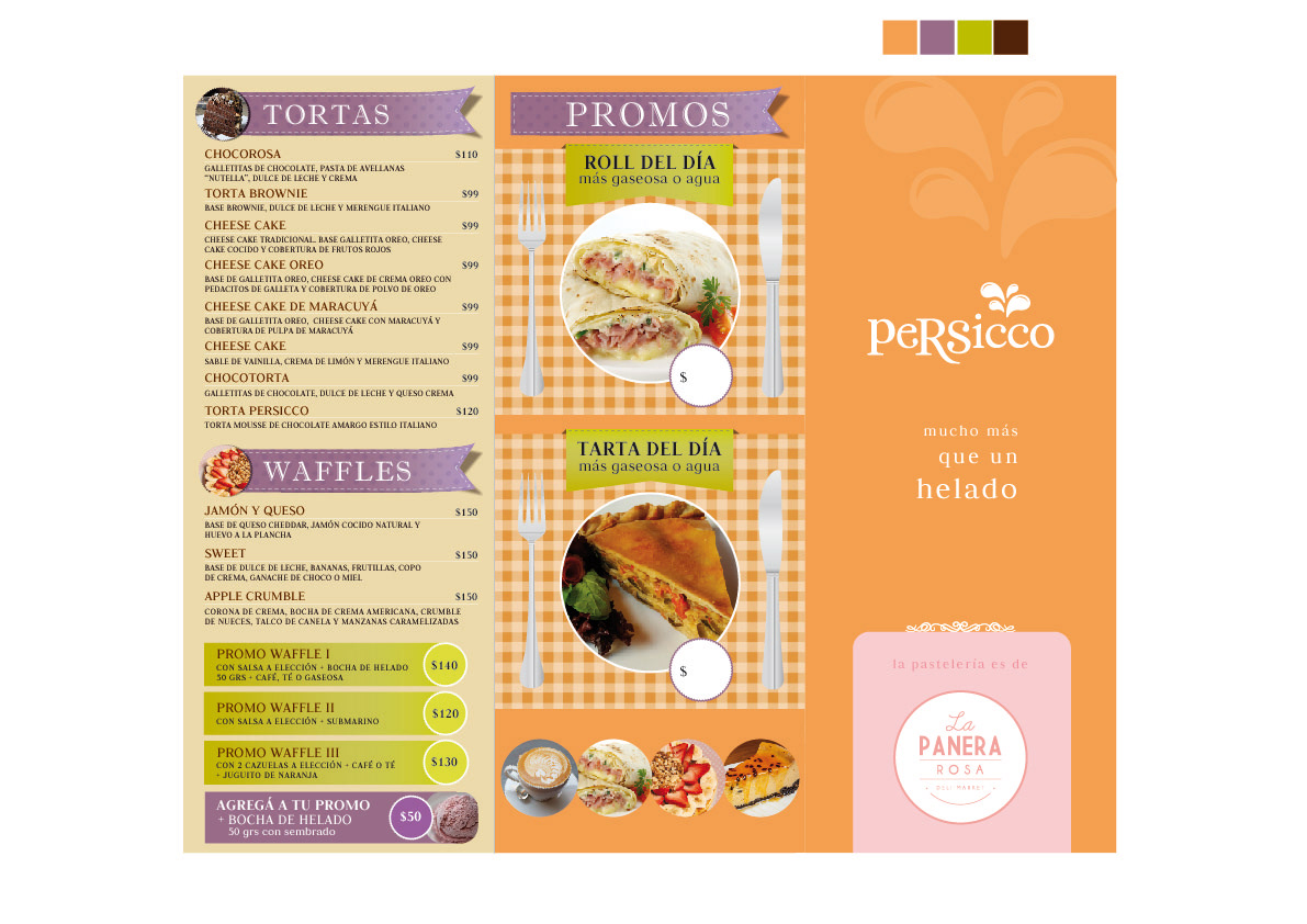 Carta menu triptico cafeteria cafe menu flyer diseño gráfico
