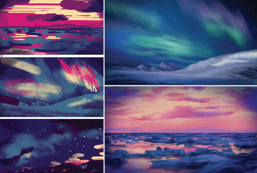 Color palette studies in the left. Digital paintings in the right.2018