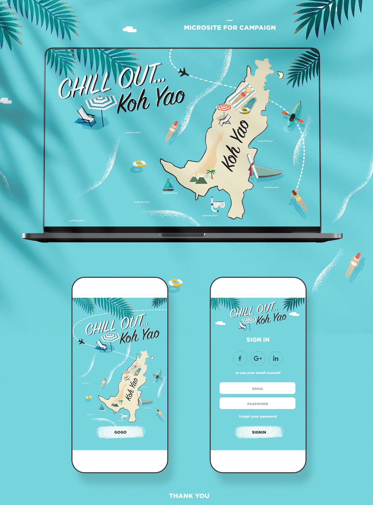 blue campaign Coconut graphic design  Island microsite sea swim ui design Web Design