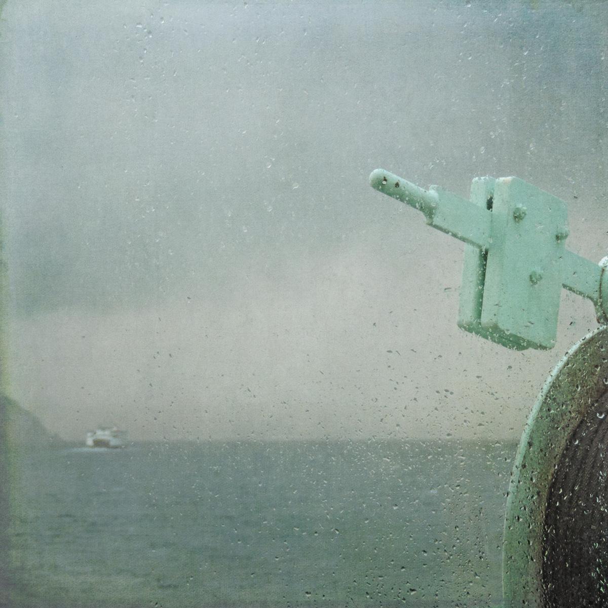 stormy rain rain on window seagulls seascape ferry Puget Sound Sally Banfill