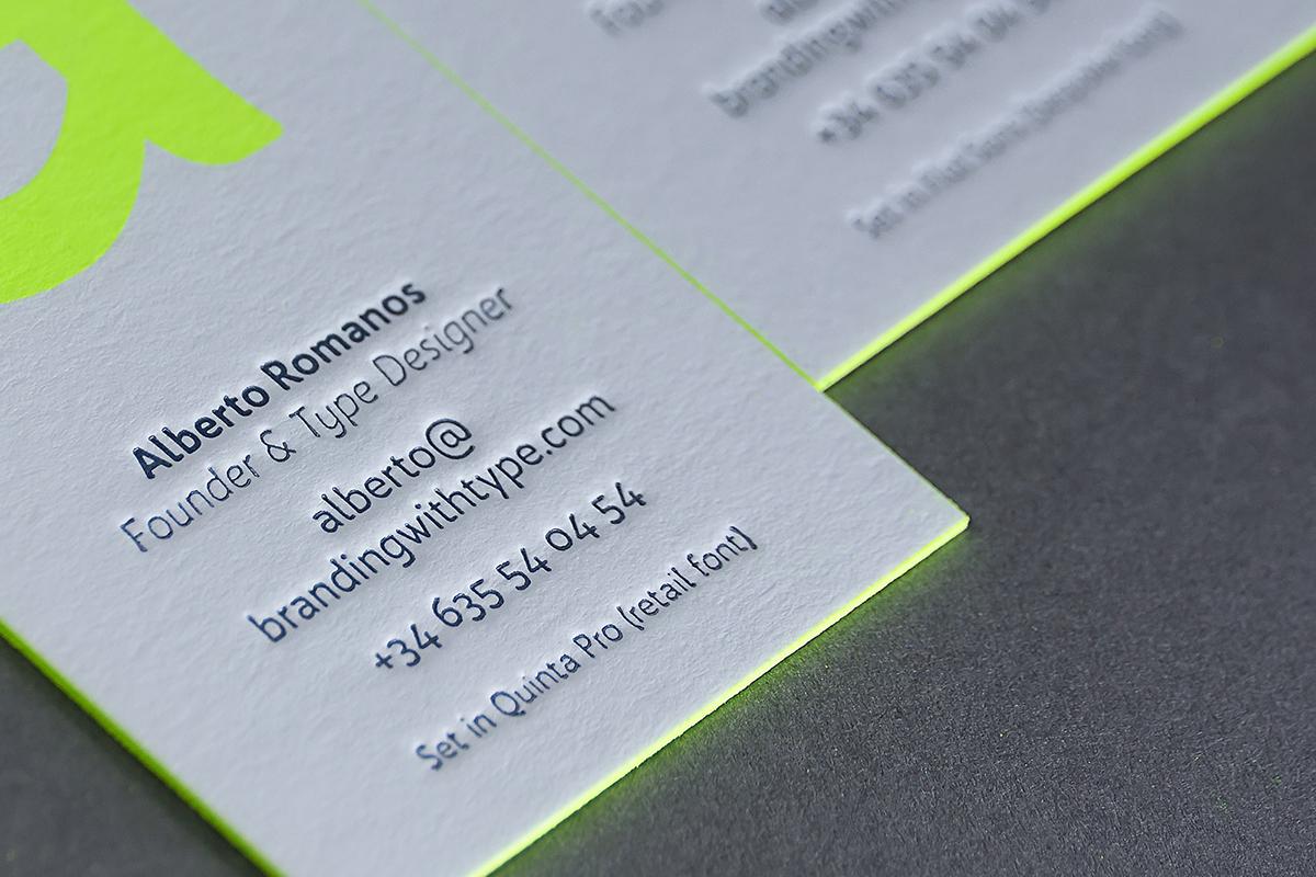 font fluorescent fluor screenprint letterpress silkscreen neon glow business card card type design branding with type type self-promotion