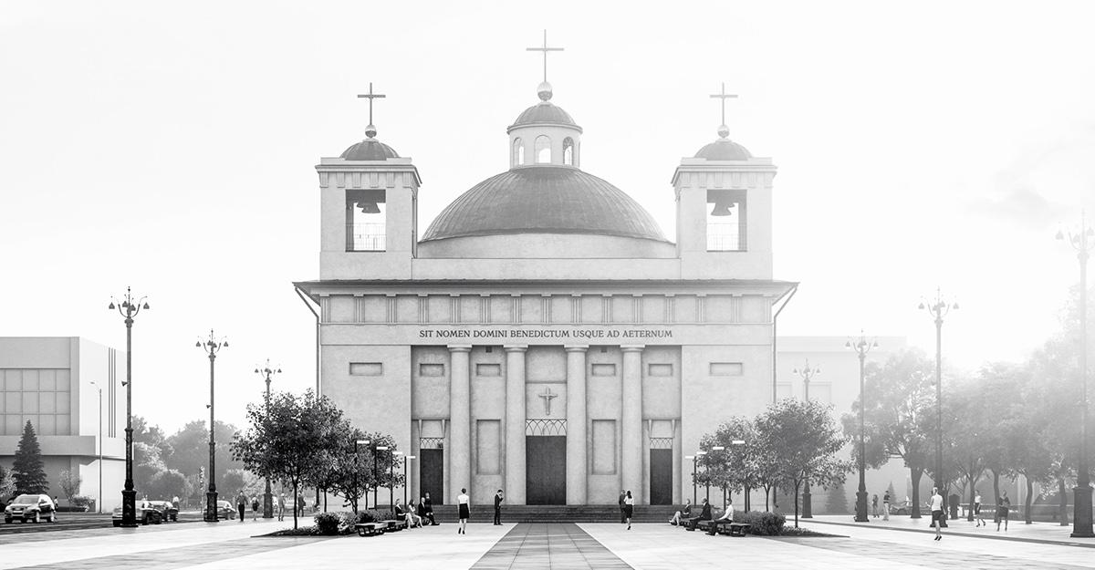 reconstruction church square history Catholic museum sculpture Interior design Classic