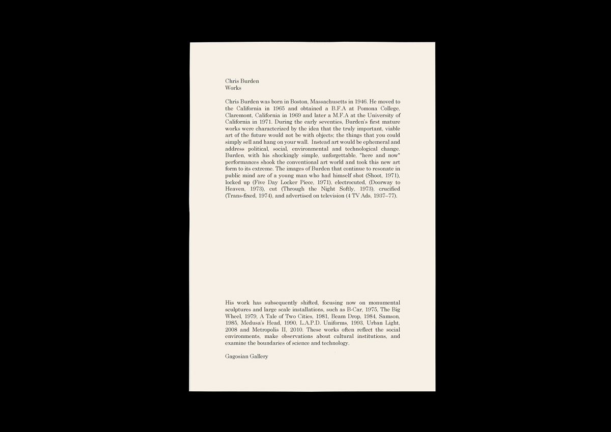 analysis on chris burdens shoot About chris burden shoot, 1971, occurred when burden was shot in the arm by an assistant in the works continued burden's analysis of power and experience.