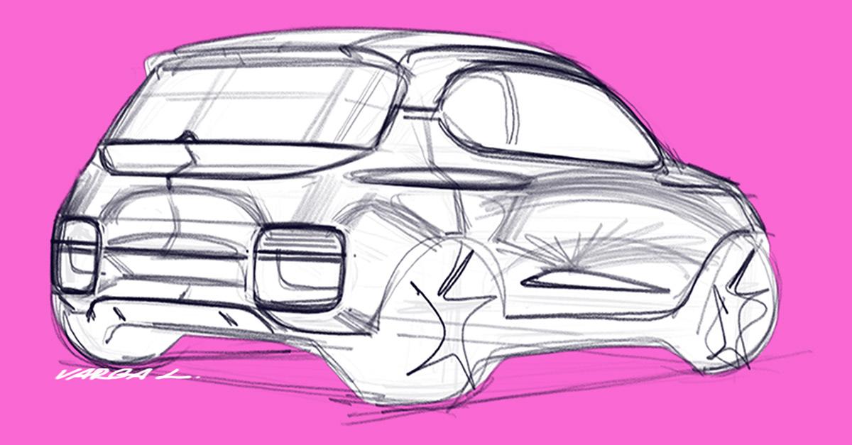 2D automotive   car car design concept design sketches Transportation Design