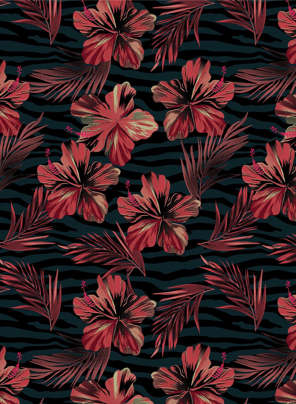 Dark Floral flamingo floral leaves Menswear shirts summer swim Tropical