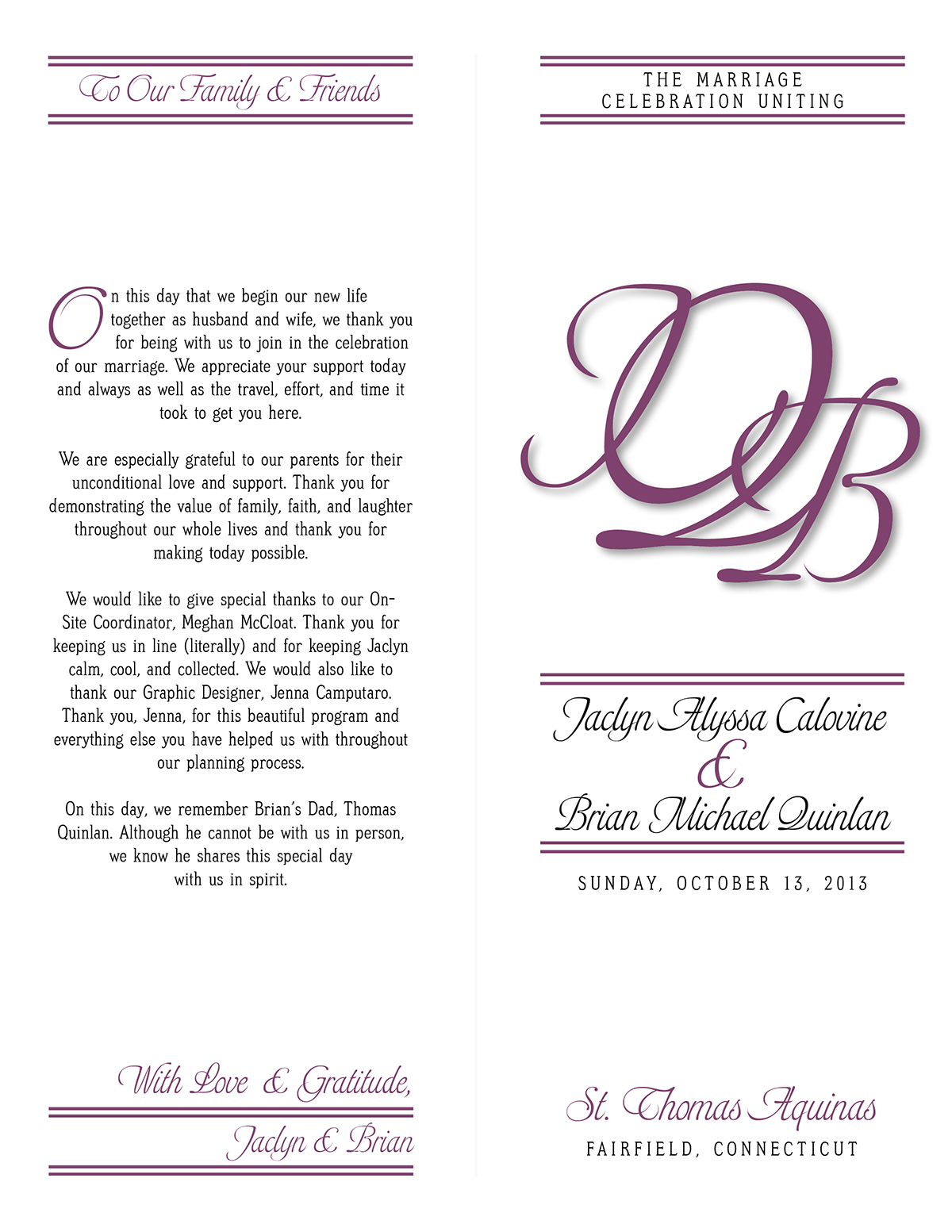 quinlan wedding program and place card on behance