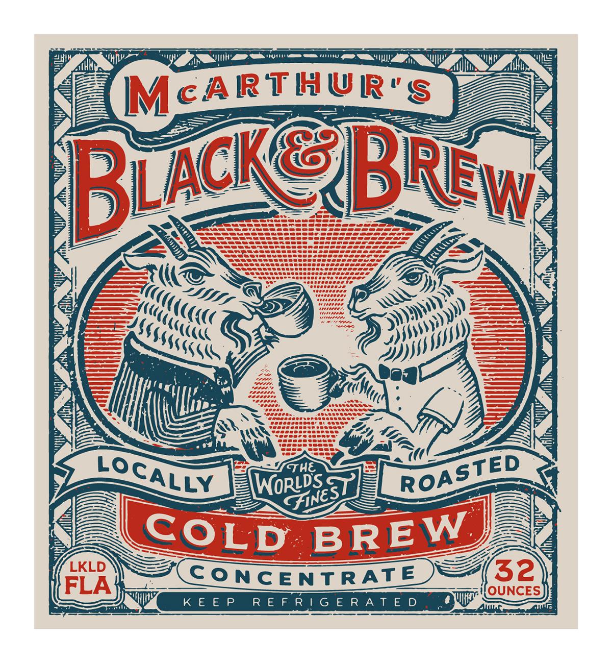 Coffee Cold Brew vintage goats BLACK AND BREW florida Label design Conrad Garner