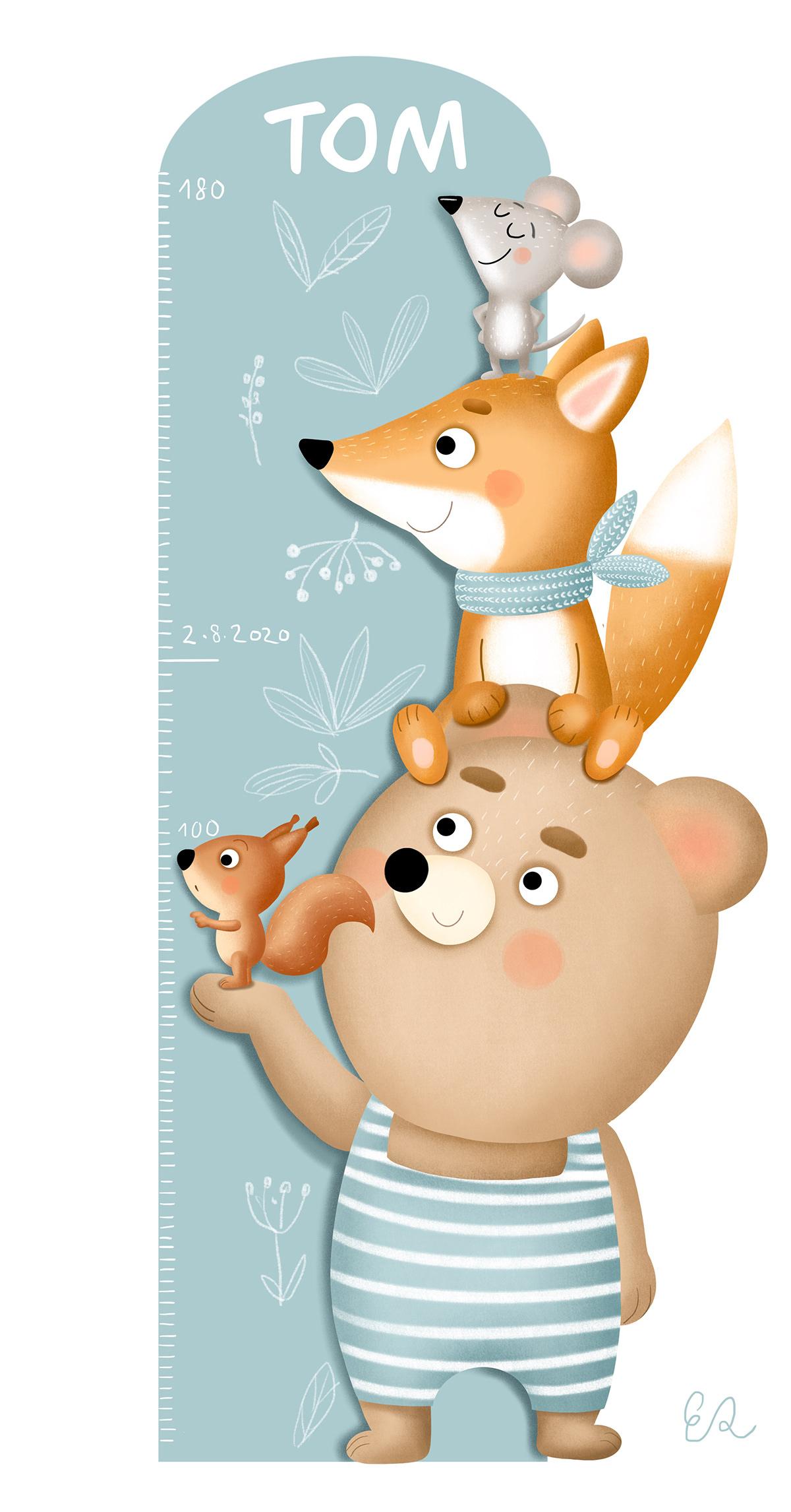 bear children illustration FOX meter mouse squirrel