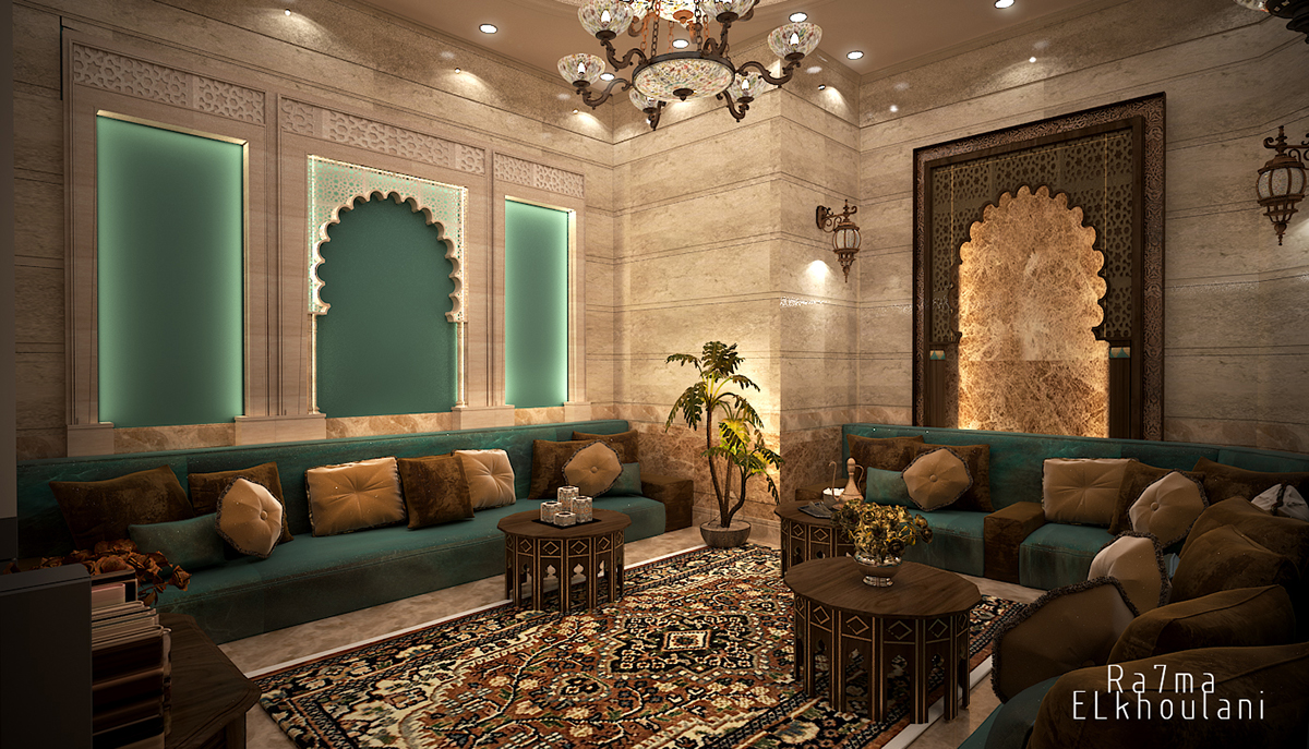 Moroccan sitting room on behance - Moroccan themed living room ideas ...