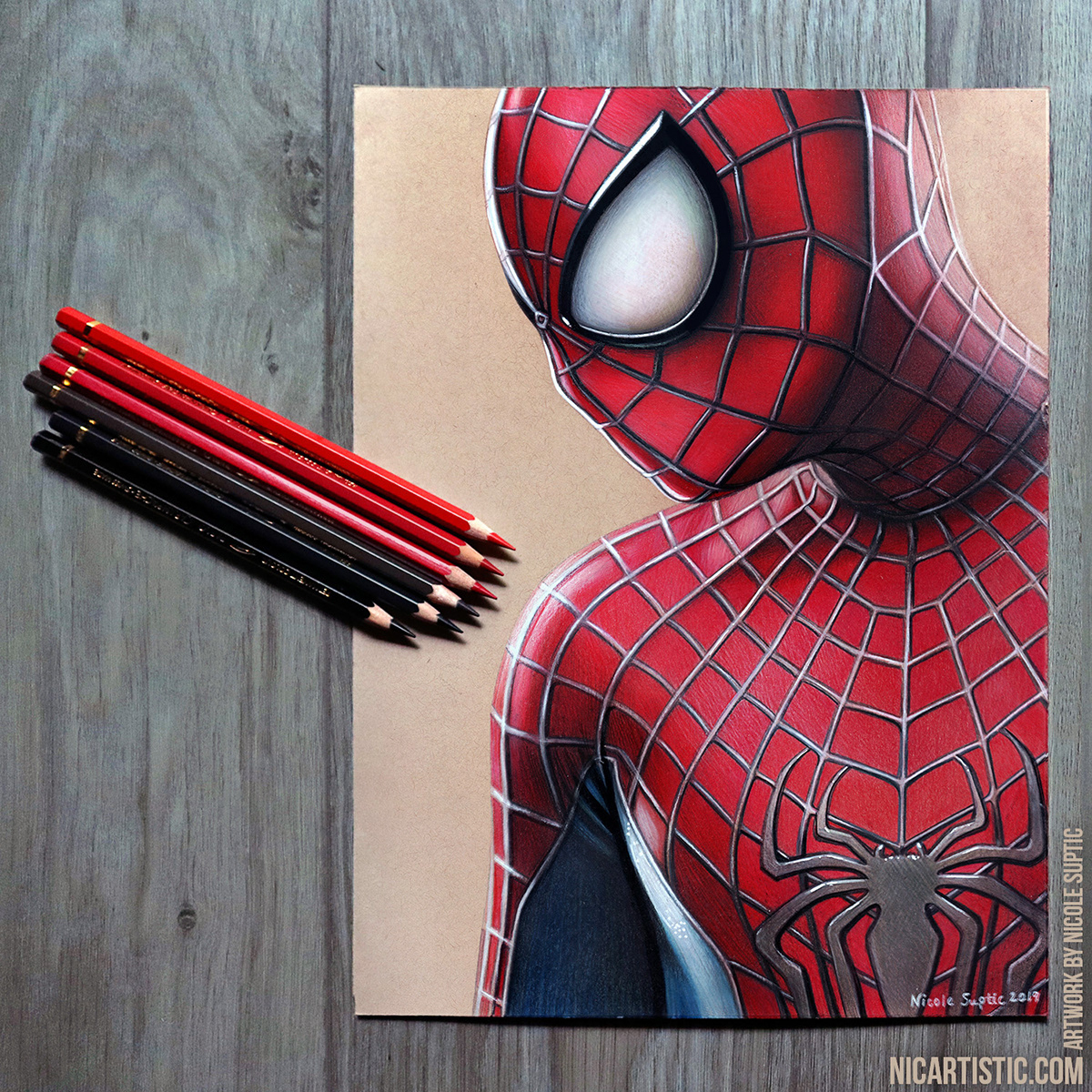 Spider Man Drawing In Colored Pencils On Behance