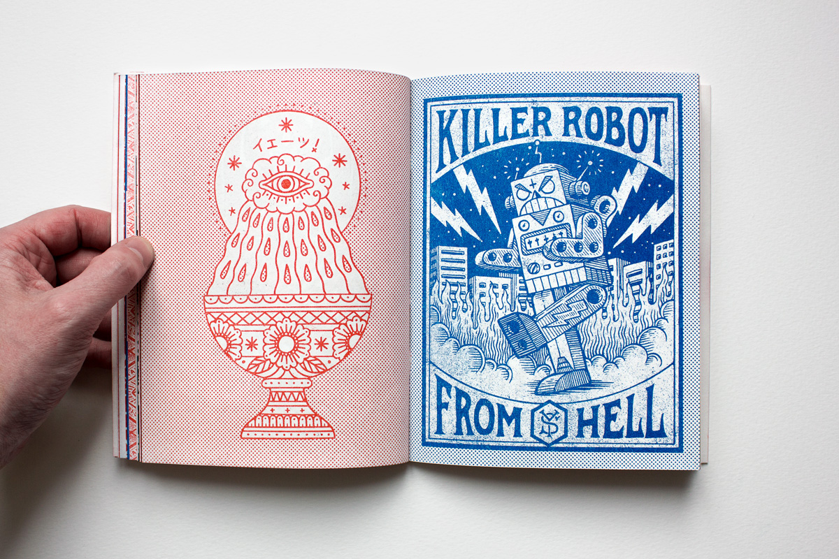 book artbook risograph t-shirt apparel print animal bear raccoon tattoo Flash comics manga anime vintage