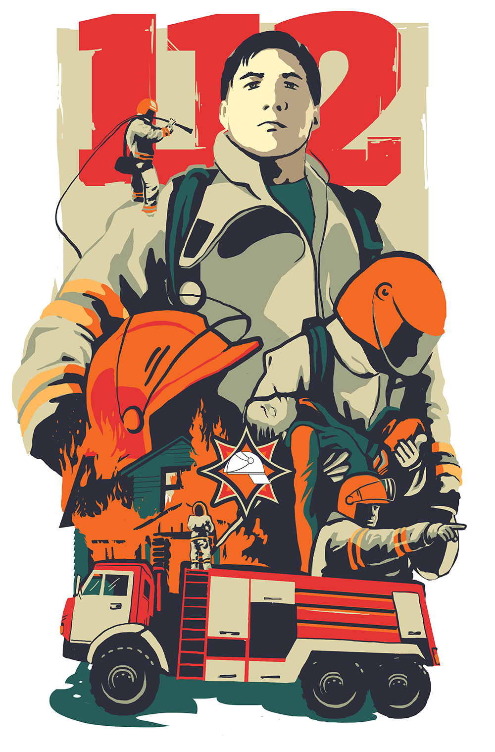 poster,ILLUSTRATION ,rescue,cotacotani,belarus,composition,МЧС,плакат,иллюстрация,fireman