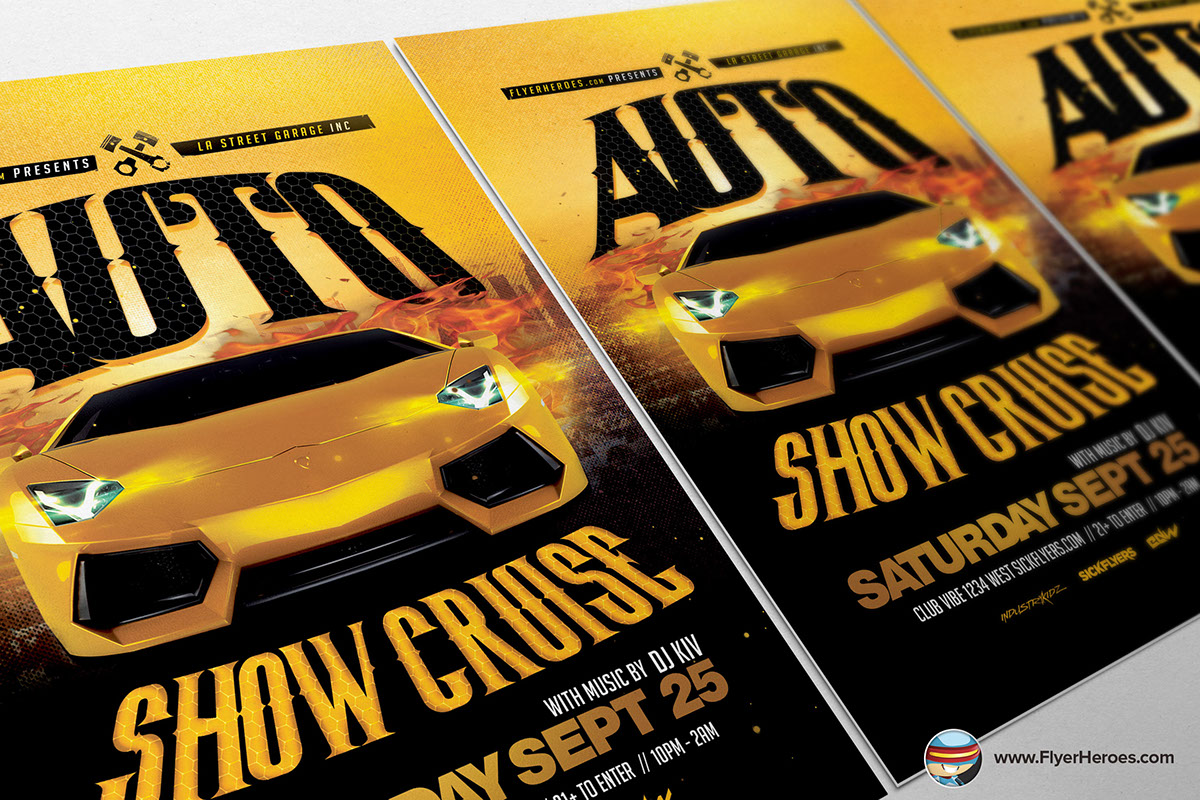 Auto show flyer template 2 on behance for Flyerheroes free